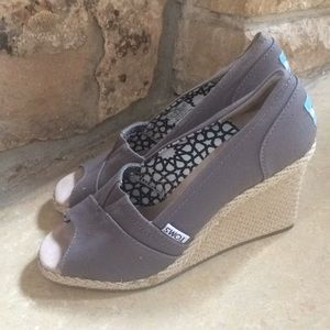 Toms Gray Wedge Open Toe Sandals